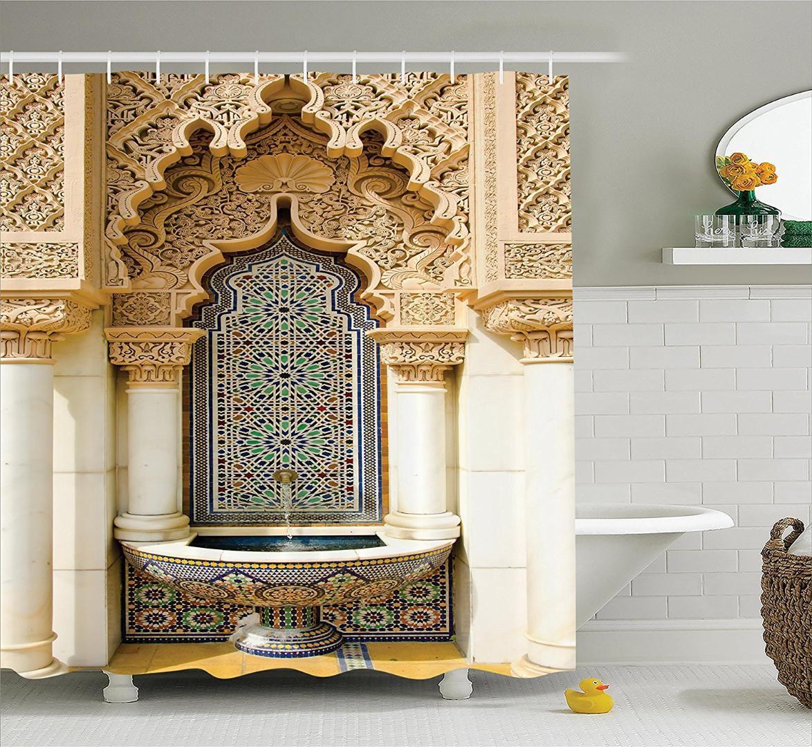 Память Home марокканская Декор Душ занавес Урожай Конструкторское Полиэстер Ткань ванной Душ занавес Набор Крючки