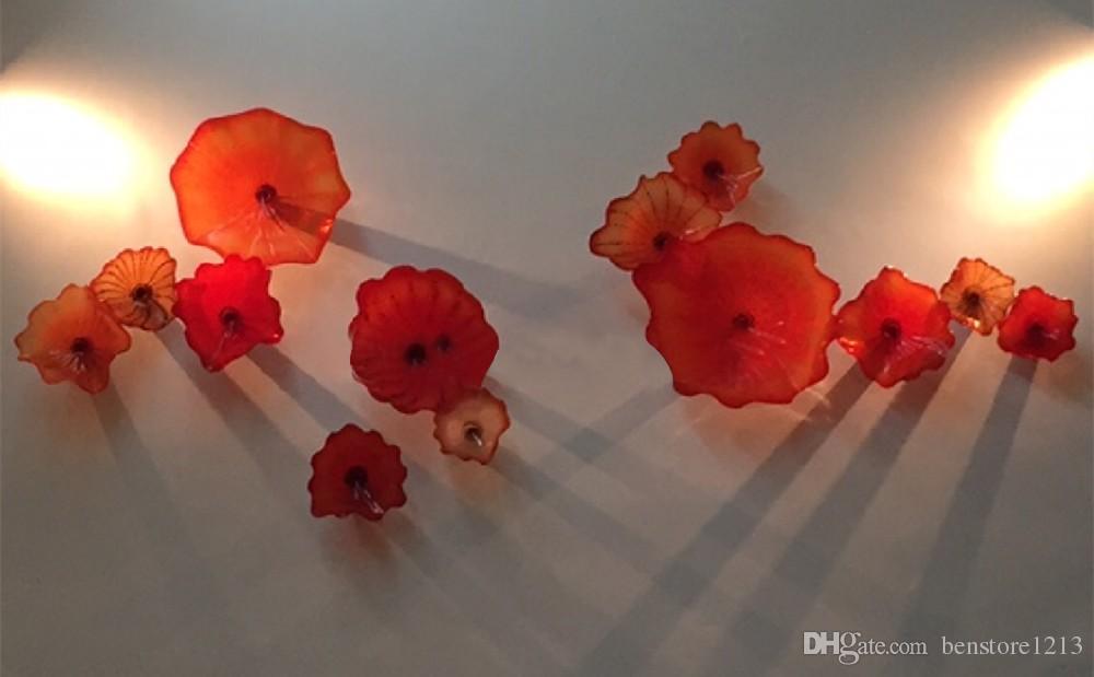 Placa de vidro de Murano artes flor lâmpadas de flores penduradas placas para casa hotel restaurante arte parede decoração cor vermelha