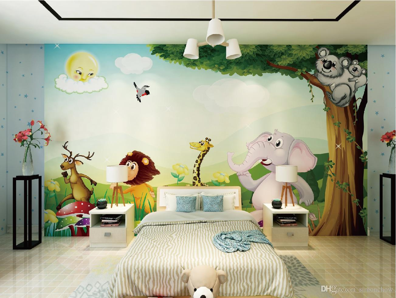 Großhandel Freies Verschiffen Benutzerdefinierte Cartoon Tiere Tapete  Kinderzimmer Baby Kinder TV Hintergrund Tapete Von Simonchow, $23.12 Auf ...
