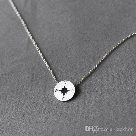 5шт круглое направление компас ожерелье циркулярный компас ожерелья простой путешествия монета диск кулон Шарм ювелирные изделия подарки