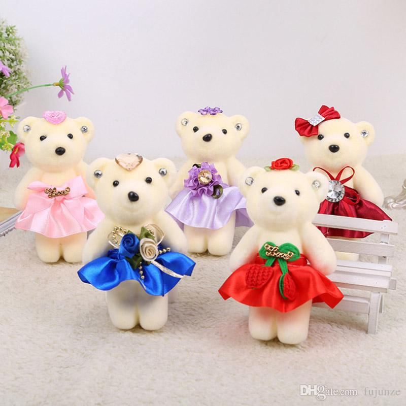 60Pcs/Lot Kawaii Small Joint Teddy Bears Stuffed Plush On Dress 13CM Toy Teddy-Bear Mini Bear Ted Bears Plush Toys Gifts 096
