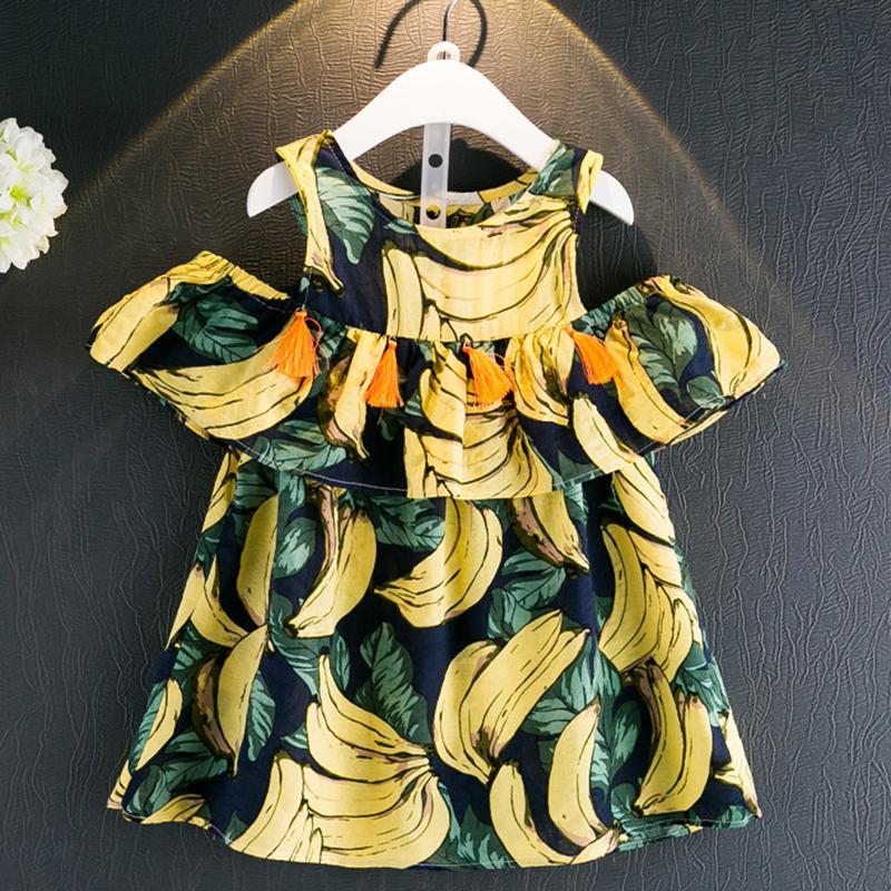 Menoea meninas dress 2017 novo verão estilo crianças roupas kids dress padrão de banana impressão para o bebê meninas vestido de roupas menina