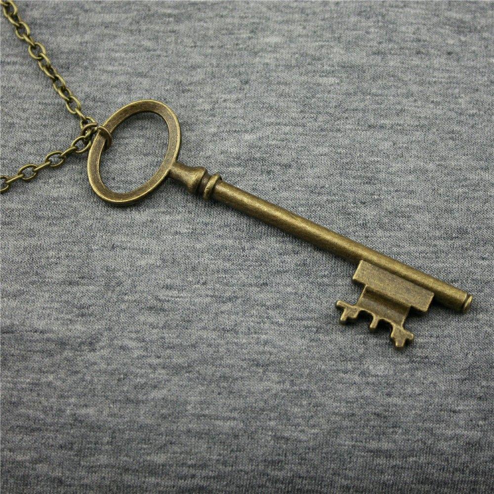 WYSIWYG Vintage Antike Bronze Farbe 79mm Große Schlüssel Anhänger Halskette, 70 Cm Kette Lange Halskette
