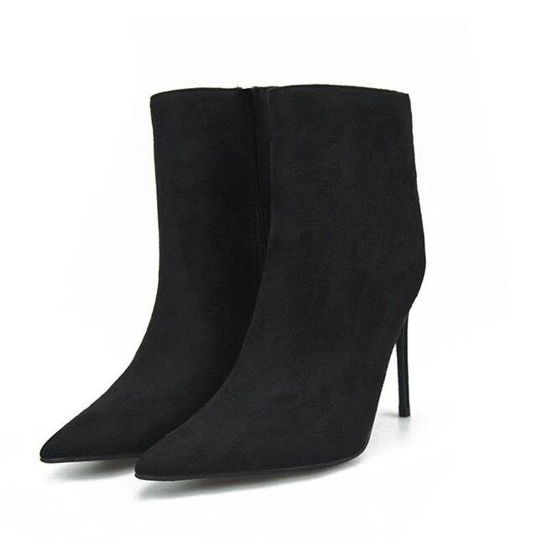 2018 Winter Women Ankle Boots 8CM/10CM Thin High Heels Cow Suede Pointed Toe Women Botas Plus Size32-46 Khaki Burgundy Orange