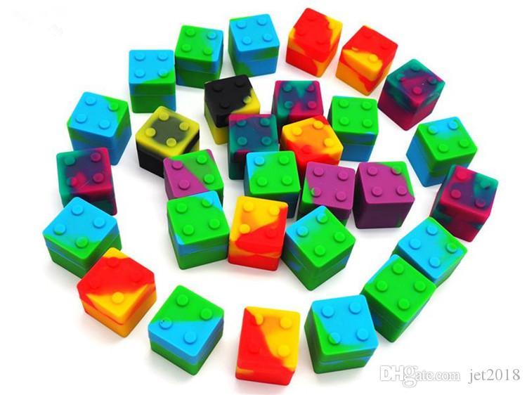9 ml mini Cube forma sortida cor recipiente de silicone para Dabs Recipientes de Silicone Forma redonda Cera Silicone Jars Dab recipientes para DHL