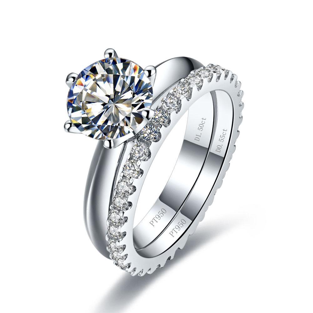 Frete Grátis Total 1.55ct anel de casamento conjunto banhado a ouro branco anéis de diamante sintético Anel de noivado de prata sólida 2 anéis em um conjunto