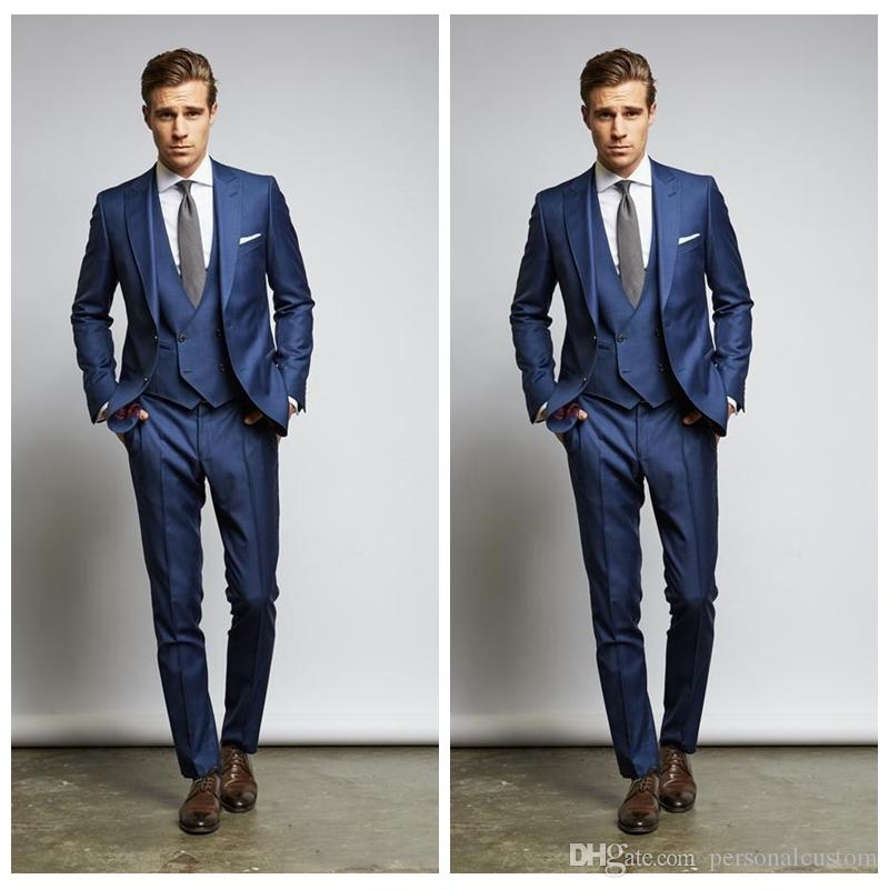 Groom Wedding Suits Two Buttons Prom Party Wear 2018 Slim Fit
