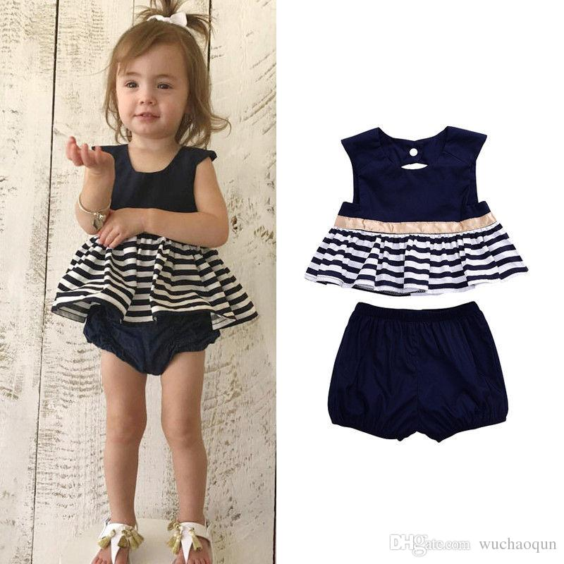 Infant Baby Girl Kid Spring Clothes Horse Stripe Print Princess Party Navy Dress