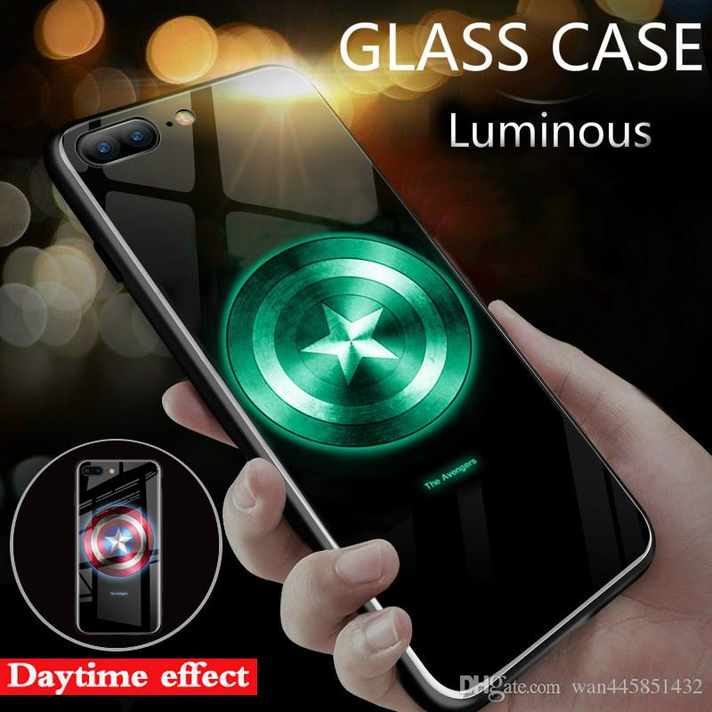lowest price 43f85 c5b10 Marvel Avengers Captain America Spiderman Luminous Glass Case For IPhone 7  6 6s 8 Plus Cases Back Cover For IPhone X XS MAX 6 3D Hard Case Spigen Cell  ...