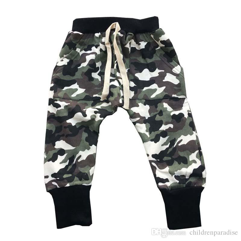 new lower prices new york discount sale 2018 Kids Spring Autumn Camo Army Trousers Children Pants For Boys Harem  Pants Blue Green Camouflage Size90~130 Pants For Boys With Elastic Waist ...