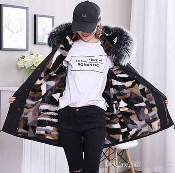 Cappotto invernale in pelliccia di volpe argentata Cappotto invernale rimovibile Imbottitura multicolore in pelliccia di volpe nera Fianchi lunghi