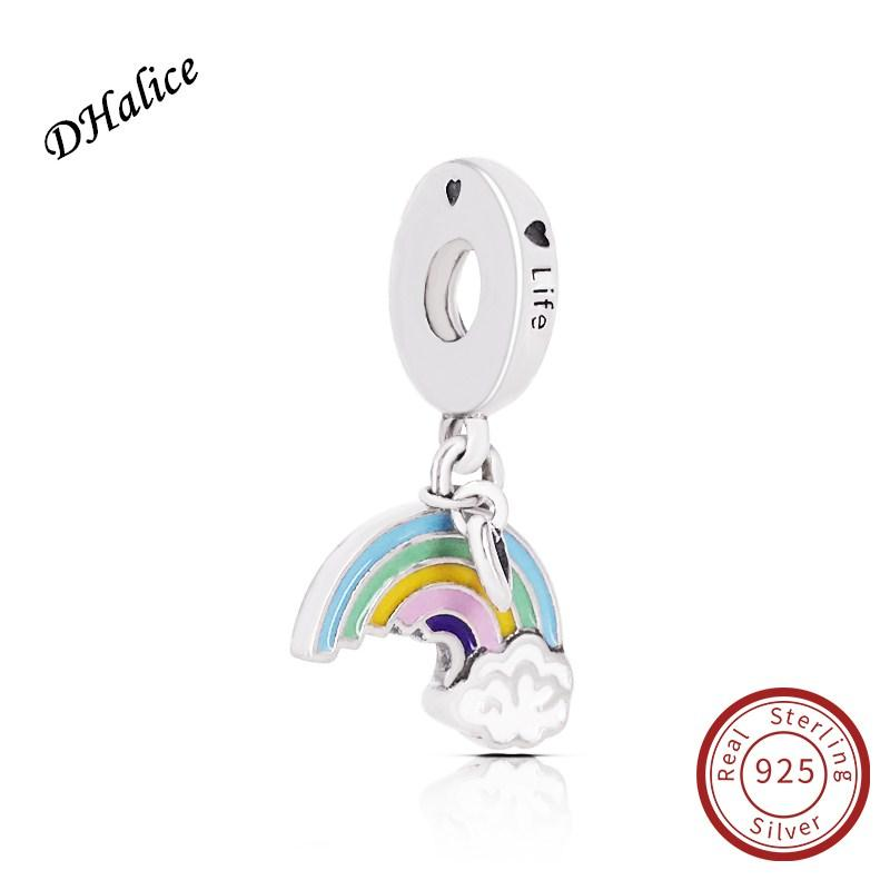 Pandora Rainbow of Love Pendant Charm Authentic 925 Sterling Silver rainbow charm Fits Snake Bracelets DIY Fine Jewelry 797016ENMX charm