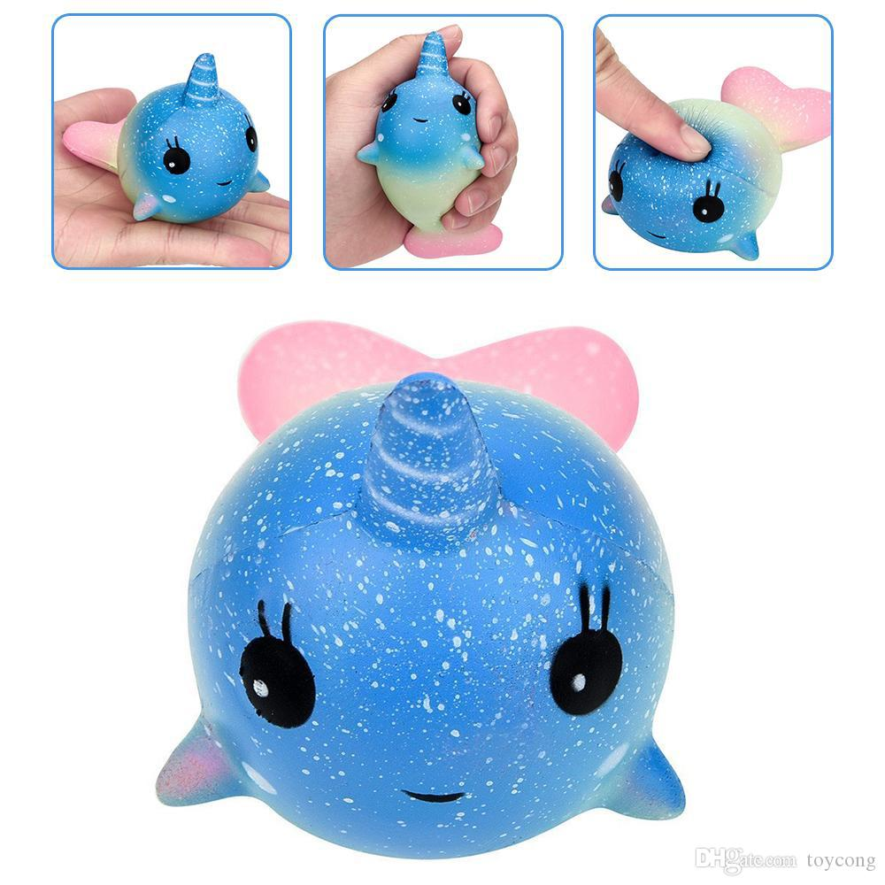 12cm Cute Unicorn Squishy Colorful Whale Slow Rising Straps Rainbow Dolphin Squeeze Scented Bread Cake Kid Fun Toy Gift Release Toys