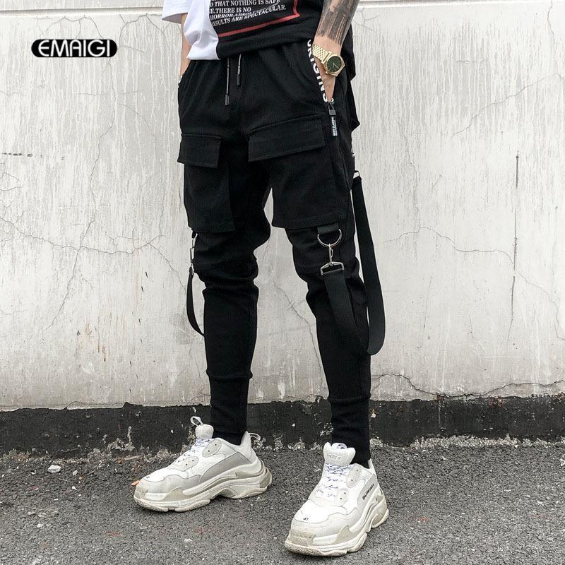 Men Multi-pocket Elastic Waist Design Harem Pant Street Punk Hip Hop Casual Trousers Joggers Male Dancing Pant Y1892801