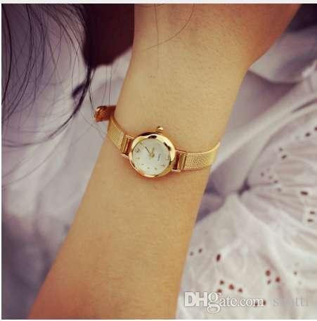 Reloj de oro para mujer Relojes de malla de acero inoxidable Descuento de moda Reloj para mujer Rhinestone Crystal Relogio relojes