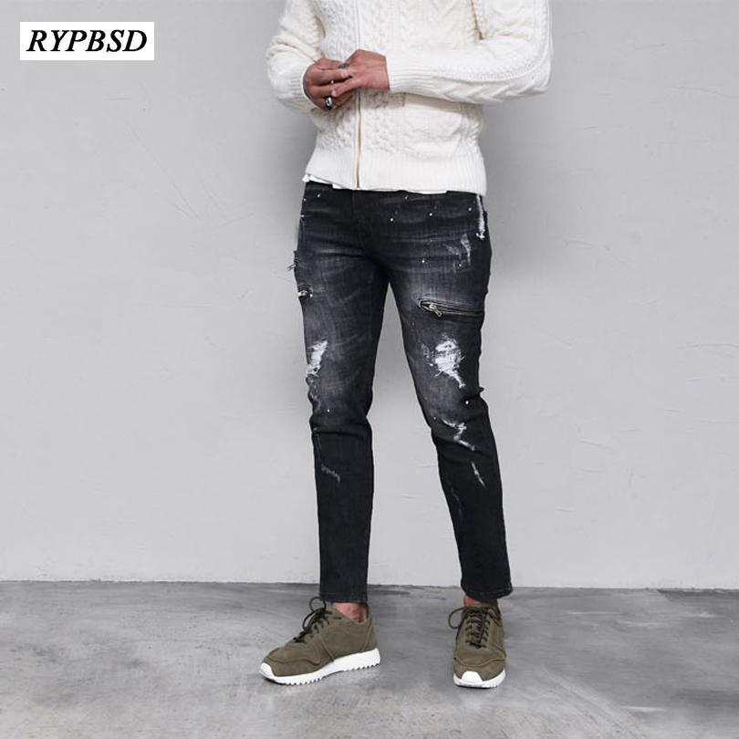 Strappato Biker Jeans Uomo Denim Skinny Jeans Uomo Nero Hip Hop Hombre Slim Fit Moda Casual Uomo dritto