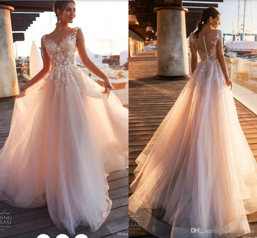 2018 élégant blush rose dentelle applique une ligne robes de mariée pure scoop col tulle couvert bouton Tulle longe robe de mariée personnaliser
