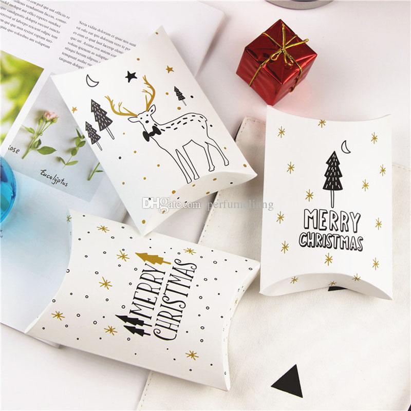 Großhandel Weihnachtsgeschenk Box Süßigkeiten Cookies Deer Baum Goldenen Stern Kissen Papier Geschenkbox Hochzeit Geburtstag Kinder Geschenke