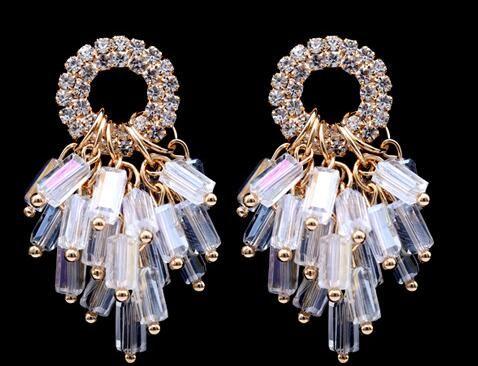 Pendientes llenos de diamantes pendientes de borlas de cristal hechos a mano pendientes sin alergias dos colores