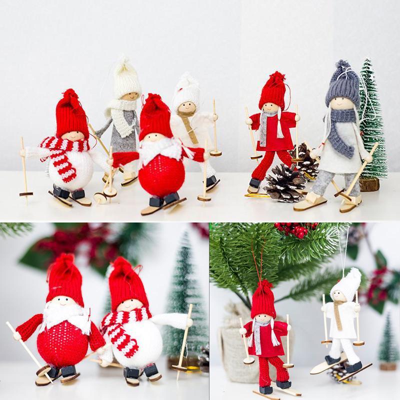 1 UNIDS Esquí de Lana de Santa Muñeco de Nieve Muñeca Colgando Adornos de Árboles de Navidad Colgantes Decoración de Navidad Envío Gratis