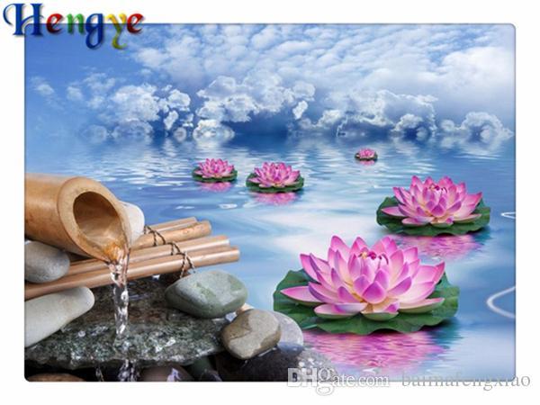 Diy Алмаз живопись вышивки крестом комплект горный хрусталь мозаика home decor подарок цветок лотоса озеро полный roundsquare Алмаз 5D вышивка yx2341