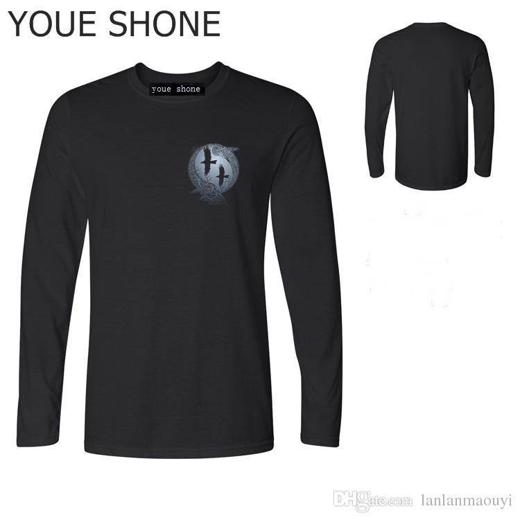 Maglietta più recente di cotone T shirt Vikings serie Odin Raven Ragnar Lodbrok t-shirt manica lunga uomo sportwear T-shirt FULL polo