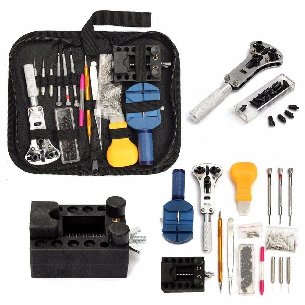 144 piezas Conjunto de herramientas de reloj profesional para Reloj Caja de abridor Conjunto de herramientas Herramientas de reparación horloge gereedschapset herramientas de mano