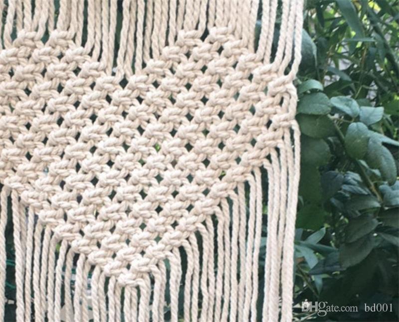 보헤미안 수제 뜨개질 태피스 트리 러브 하트 패턴 태피스 트리 홈 월에 대한 웨딩 부화 장식 용품 21 5cm 이하