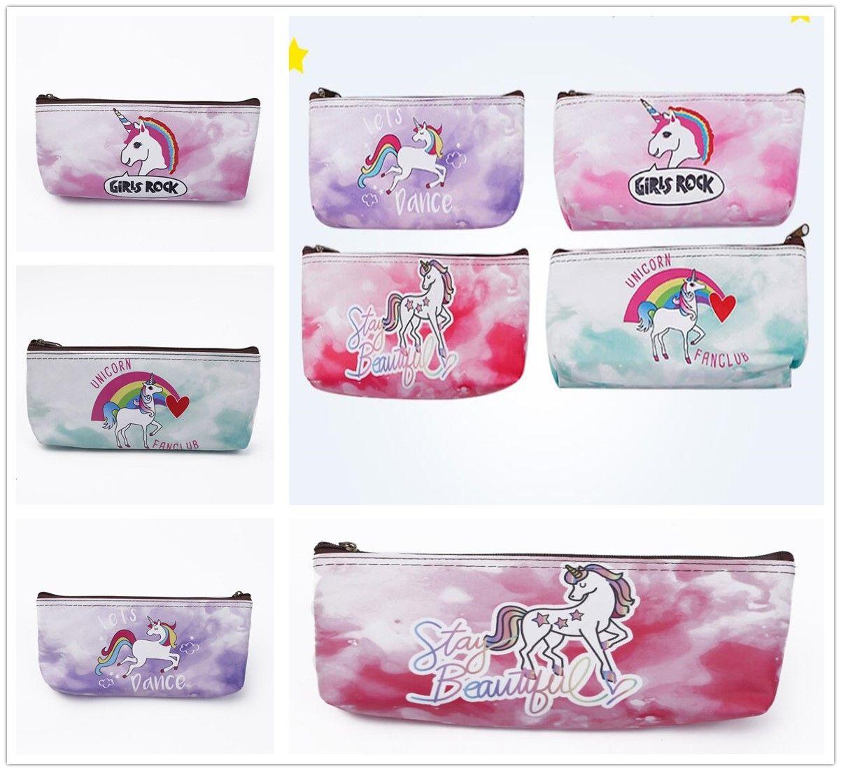 New Wonderful Unicorn Pattern PU Storage Bag Home Zipper Learning Case Simple Gift Decor Free Shipping