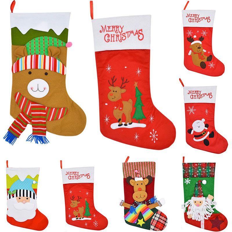 Christmas Stocking Gift Bags Felt Cloth Christmas Tree Santa Cause Deer Sock Xmas Candy Storage Bag Festive Party Xmas Decorations HH7-1360