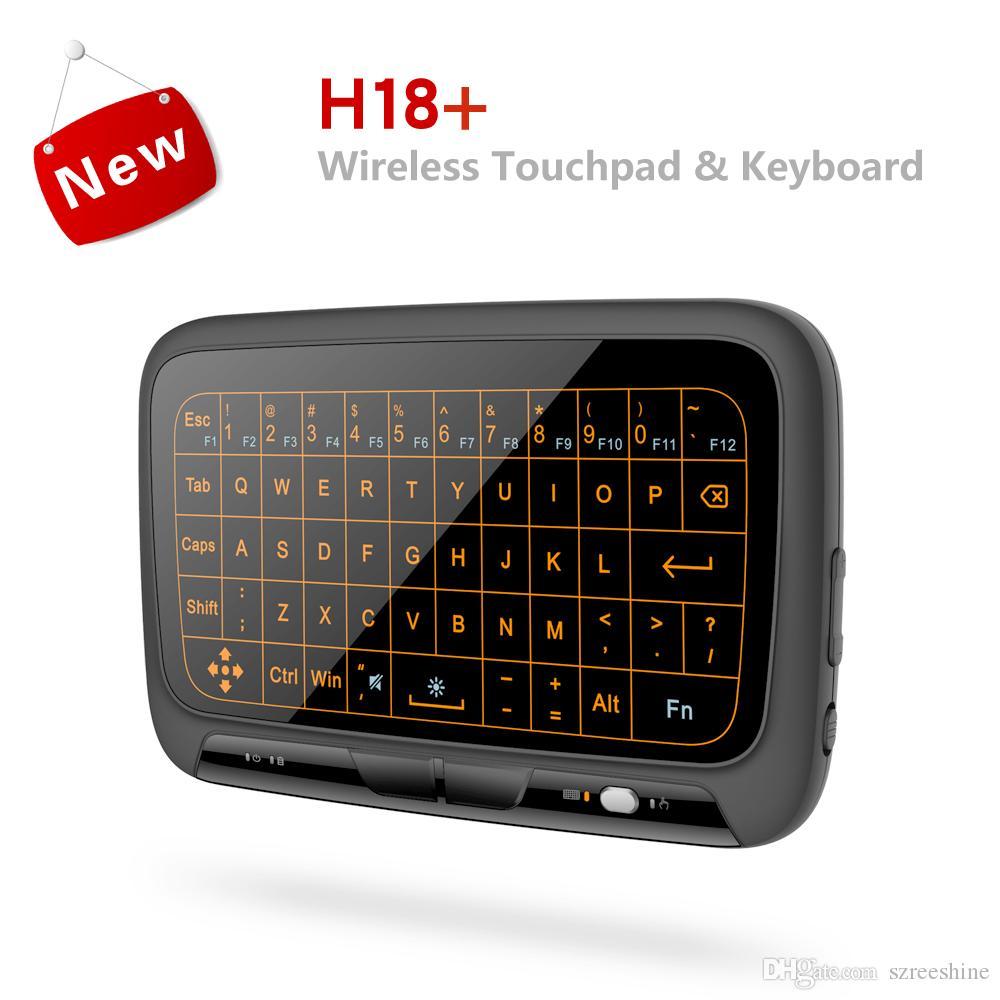 Tam Touchpad H18 ile arkadan aydınlatmalı Mini Kablosuz Klavye + Arkadan Aydınlatmalı PC için Hava Fare TV Kutusu Uzaktan Kumanda Kontrolörü QWERTY Klavyeler