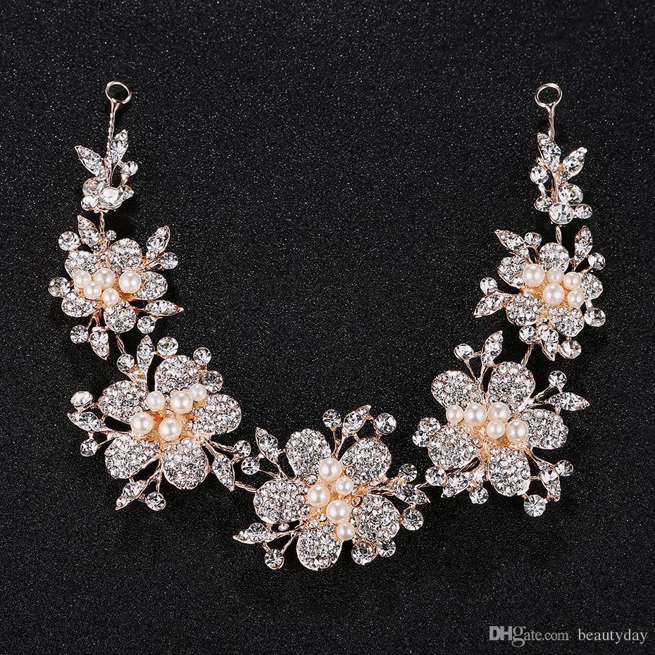 Rosa oro capelli fiori per la festa nuziale damigella d'onore nuziale barocco chic perle di cristallo tiara strass archetto masquerade in magazzino