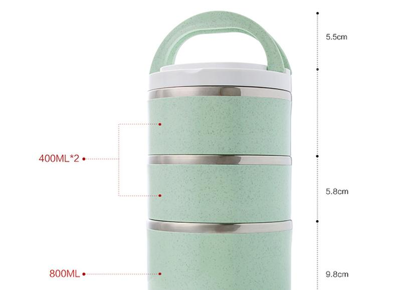 Insulated Thermal Bento Box Japanese Style 304 Stainless Steel Lunch Boxs Portable Food Container Whit Bag Dinnerware Sets 10