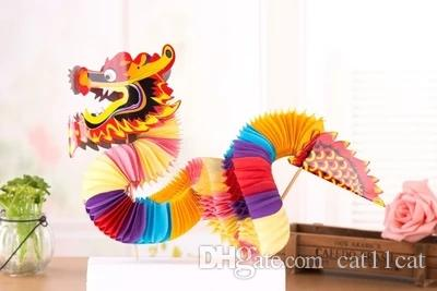Boules de fleurs de papier de soie de dragon chinois 3D Nouvel an chinois décoration décoration suspendue en nid d'abeille