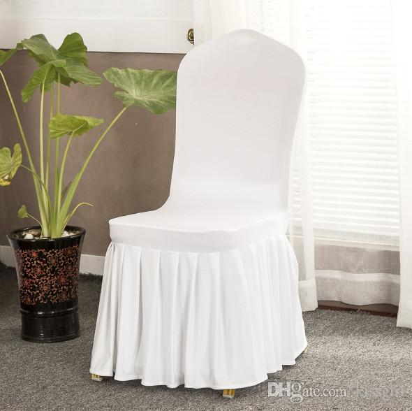 Chair skirt cover Wedding Banquet Chair Protector Slipcover Decor Pleated Skirt Style Chair Covers Elastic Spandex High Quality