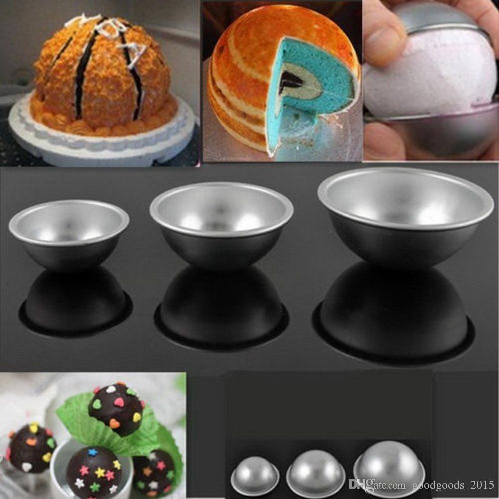 3d aluminiumlegierung ball kugel bad bombenform kuchen backen gebäck form 4,5 x 2 cm 5,5 x 2,5 cm 6,5 x 3 cm c599