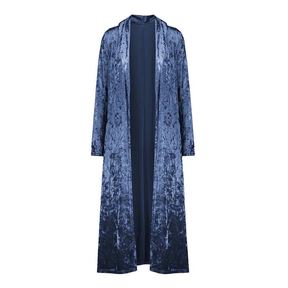 Clocolor Velvet Long Coat Women Spring Autumn Plus Size Cardigan Female Fashion Slim Plain Streetwear Girls Overcoat Trench Coat