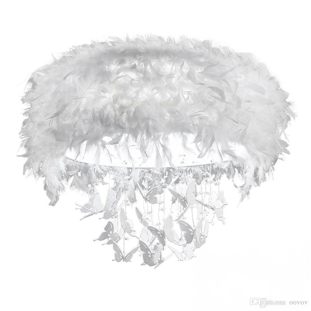 OOVOV Round White Feather Plafoniera in cristallo, 24W, LED, Acrilico, Farfalla, Per camera da letto, Princess Room, Soggiorno