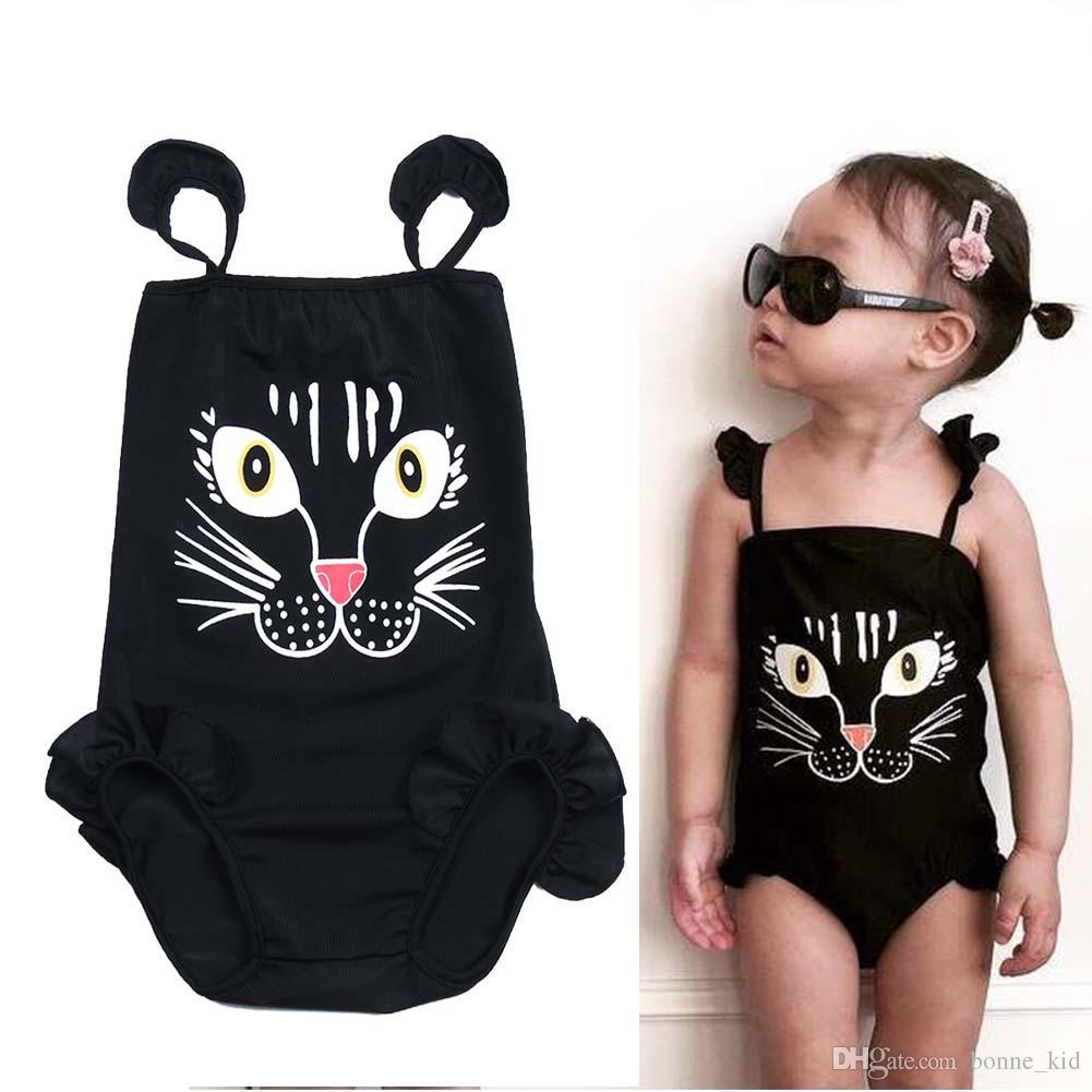 Çocuklar Bebek Kız Tek Parça Siyah Mayo Karikatür Kedi Baskı Sling Mayolar Bikini Mayolar Mayo Çocuk Mayo Beachwear