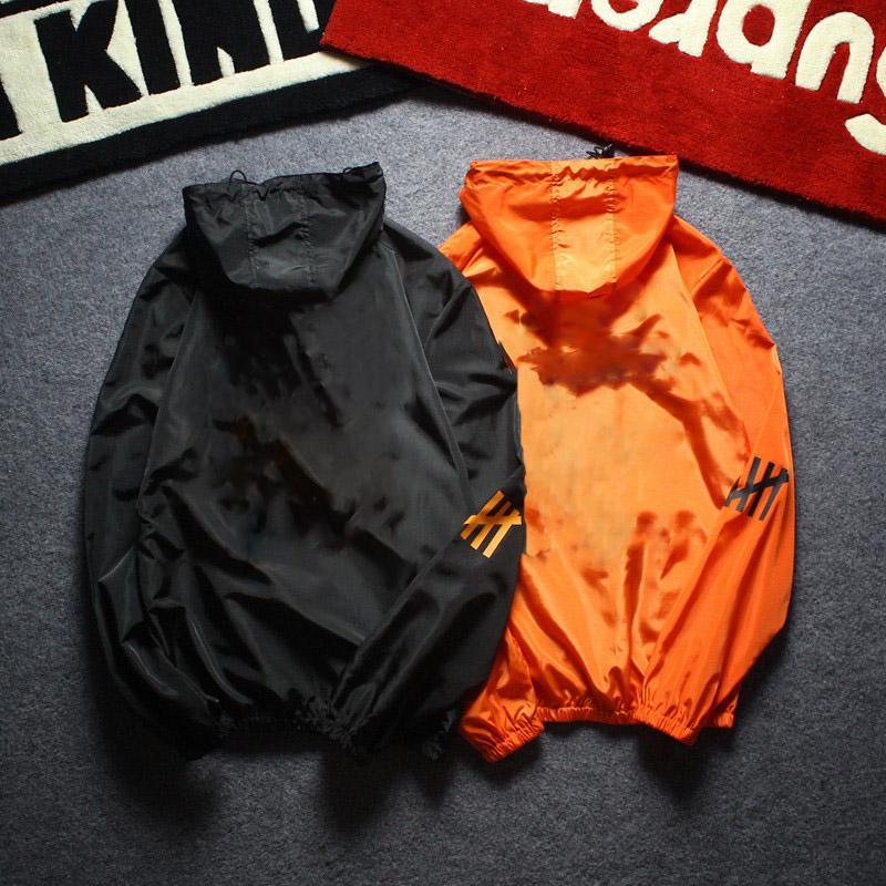 أزياء رجالي سترة واقية من الشمس سترة طية صدر السترة الرقبة سترة مقنعين أسود برتقالي الحجم S-XXL البوليستر رجل جاكيتات سترة واقية عارضة