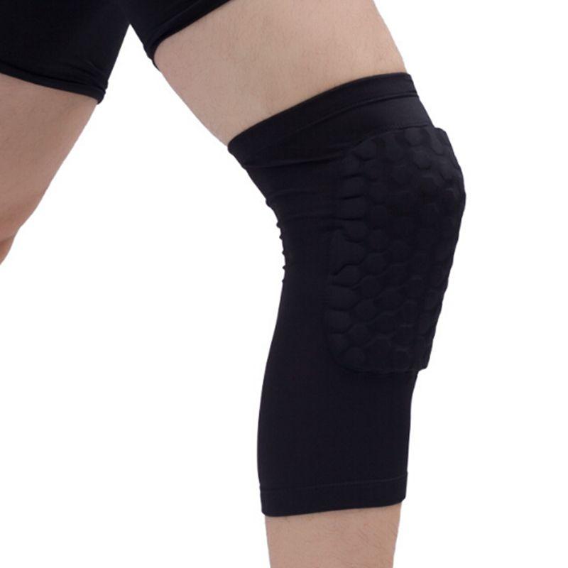 العسل الرياضة السلامة الطائرة كرة السلة كرة القدم قصيرة الركبة الوسادة صدمات ضغط الجوارب الركبة يلتف هدفين حماية حزمة واحدة