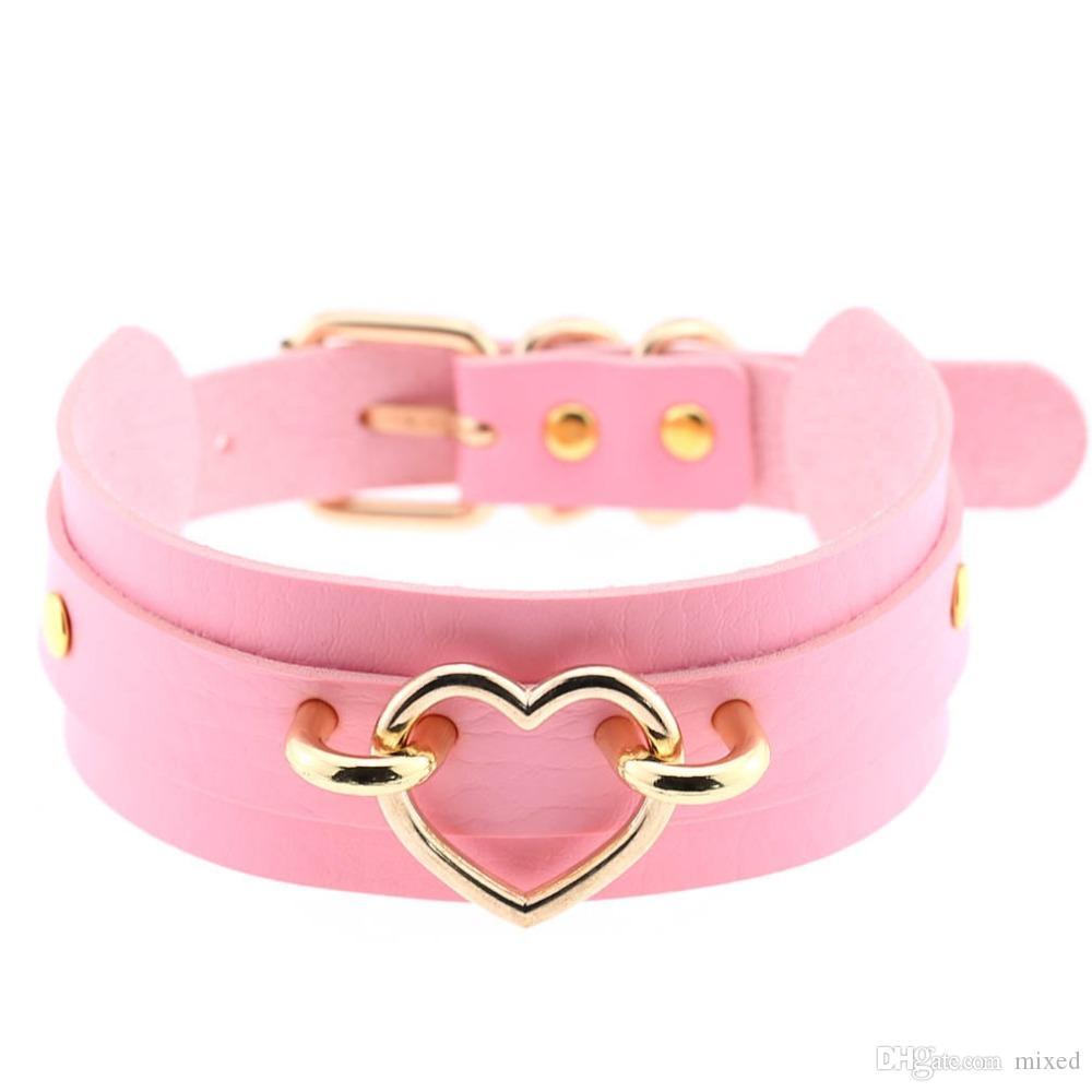 Новые Кожаное колье в подарок колье для женщин Колье Сердце Металлический лазерный ошейник Модная бижутерия