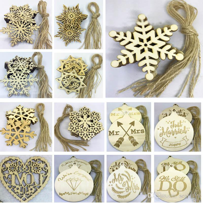 10pcs/Lot Christams Ornaments Decorations For Wooden Snowflake Piece Word Ball Tree Hanging Pendant With Strap Xmas Gifts Crafts HH7-1488