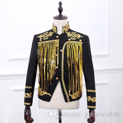 Freeship Mens Luxus schwarz / weiß goldene Quaste Pailletten Stickerei Meteoral Vintage Jacke / Bar / Club / Studio / Bühne Performance Jacke