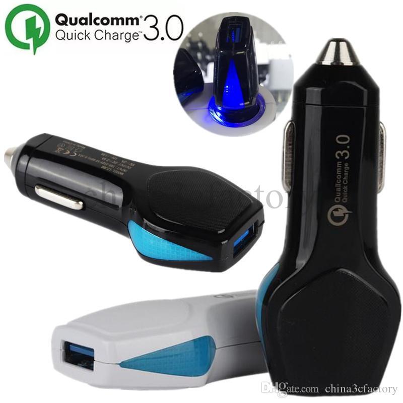 Автомобильное зарядное устройство Quick Charger 3.0 QC 3.0 быстрая зарядка со светодиодной подсветкой мобильный телефон автомобильное зарядное устройство для iPhone X 8 7 Xiaomi