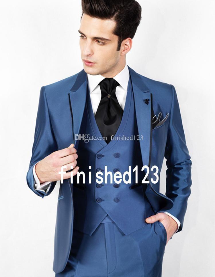 Индивидуальный дизайн одна кнопка синий свадебный жених смокинги с надрезом отворотом жениха мужские ужина блейзер костюмы (куртка + брюки + жилет + галстук) NO: 1529