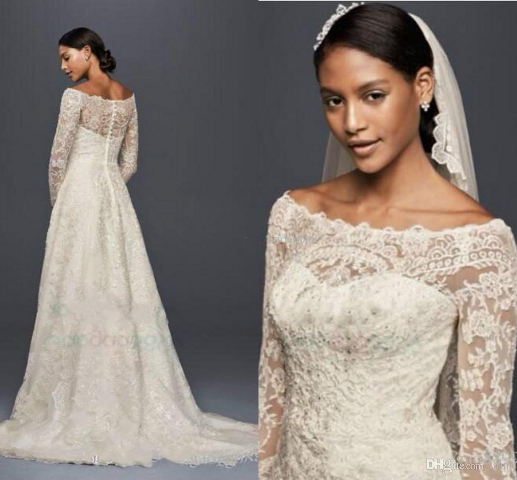 2019 خمر الرباط زين قبالة فساتين الزفاف الكتف بوهيميا طويلة الأكمام حديقة أثواب الزفاف مطرز فستان العروس زائد الحجم