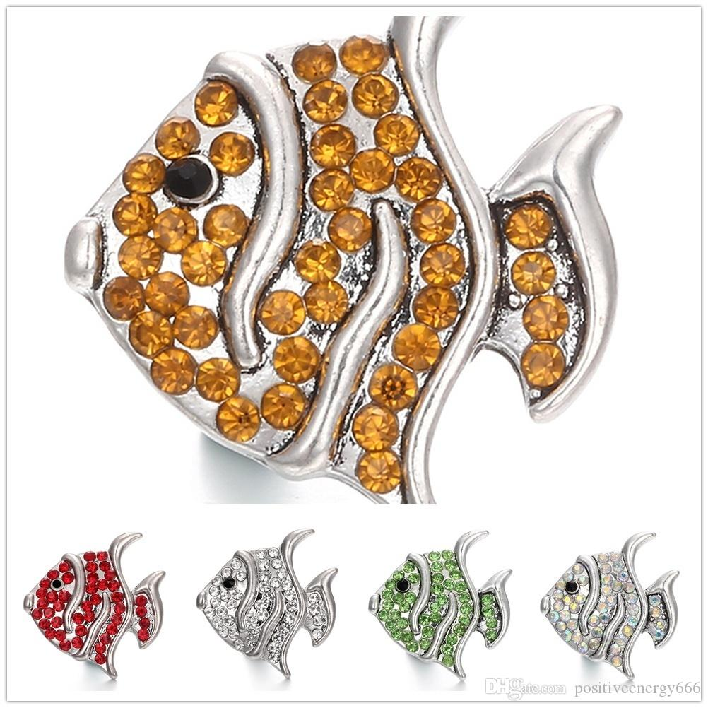 20pcs/lot 18mm Charm fish shape snap Button Antique Silver Jewelry Retro Ginger Snap Metal cufflink fit Bracelet Necklace ring earring
