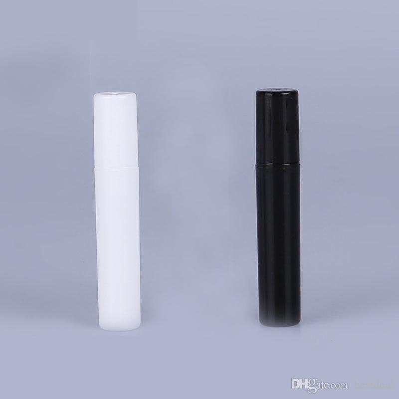 2 ml 3 ml 4 ml 5 ml 5cc PP Mini paquete de prueba portátil botella de perfume de plástico Wth aerosol y vacío tubo de ensayo de perfume negro blanco