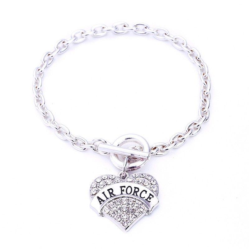 New Arrival Zinc Alloy Studded With Rhinestones Crystal AIR FORCE Heart Shape Pendant Bracelet Link Chain Trendy Bracelet